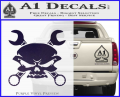 Skull And Wrenches Decal Sticker Purple Vinyl 120x97