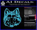 Wolf Head Decal Sticker DF Light Blue Vinyl 120x97