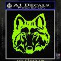 Wolf Head Decal Sticker DF Lime Green Vinyl 120x120