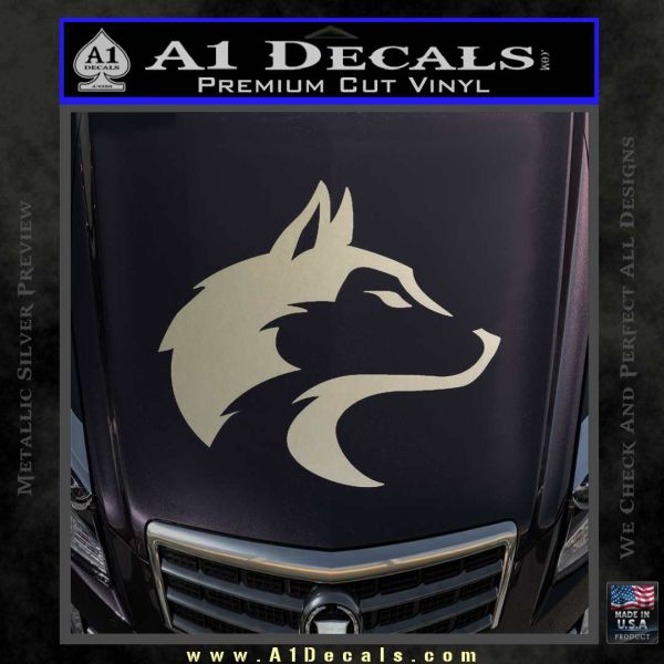 Wolf Head Decal Sticker Smooth Metallic Silver Emblem