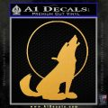 Wolf Howling At Moon Decal Sticker Gold Vinyl 120x120