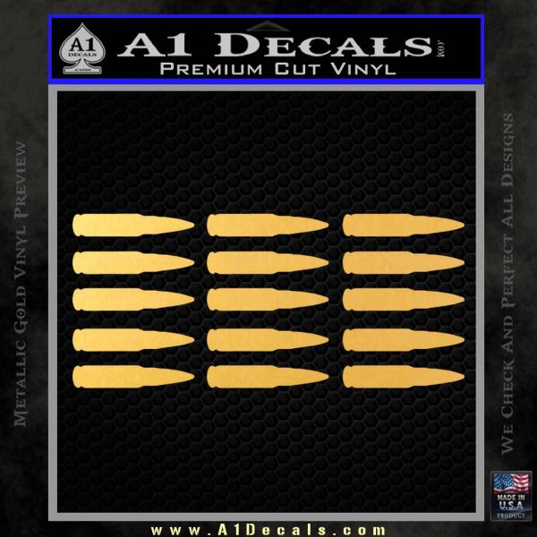 AK 47 Bullets Decal Sticker Gold Vinyl