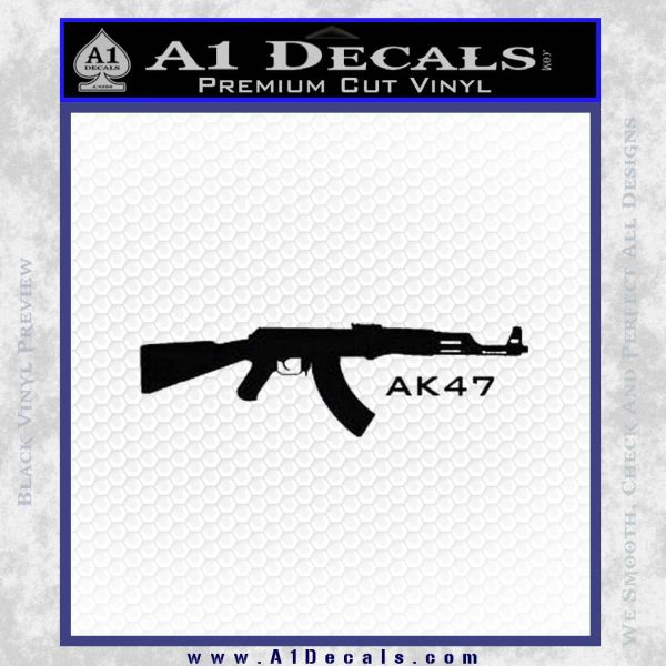 AK47 Decal Sticker Black Vinyl