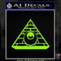 All Seeing Eye Illuminati Freemason Decal Sticker Lime Green Vinyl 120x120