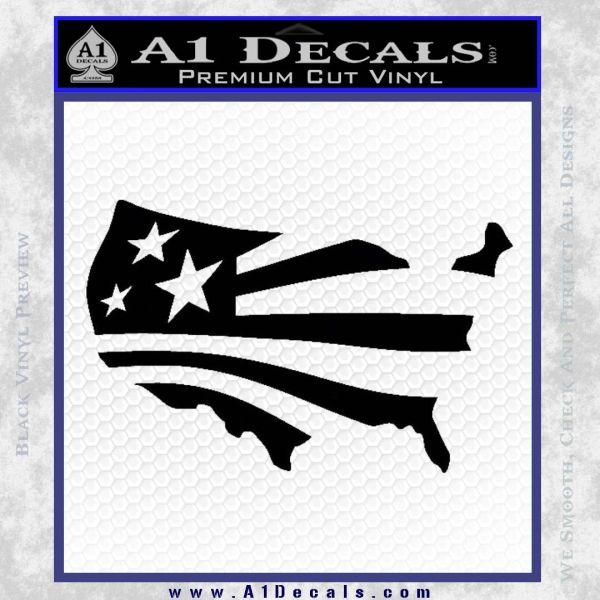 America American Flag Decal Sticker Black Vinyl