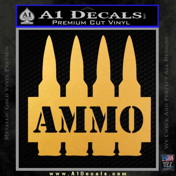 Ammo Text Bullets Clip Decal Sticker Gold Vinyl