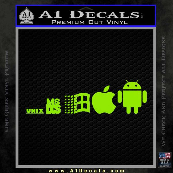 Android Evolution Decal Sticker Lime Green Vinyl