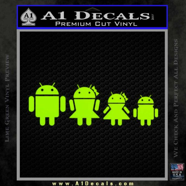 Android Family Custom Decal Sticker Lime Green Vinyl
