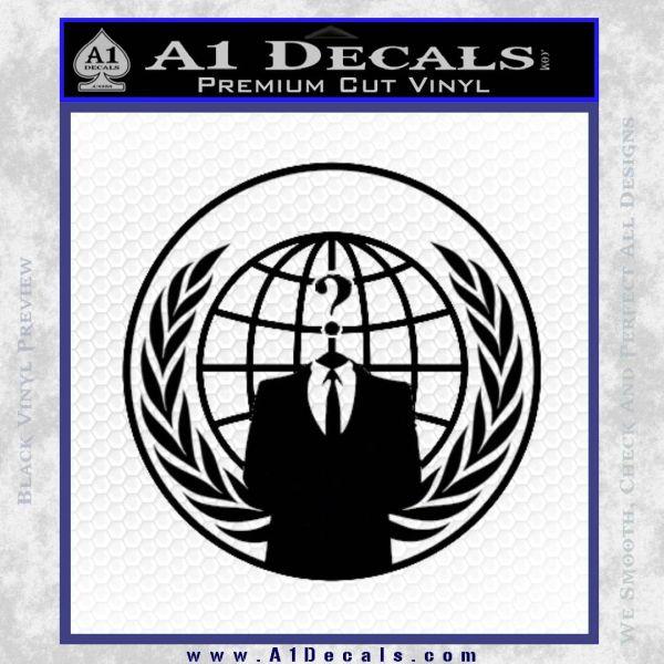 Anonymous Globe Decal Sticker Black Vinyl