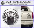 Anonymous Globe Decal Sticker Carbon FIber Black Vinyl 120x97