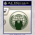 Anonymous Globe Decal Sticker Dark Green Vinyl 120x120