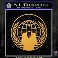 Anonymous Globe Decal Sticker Gold Vinyl 120x120