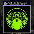Anonymous Globe Decal Sticker Lime Green Vinyl 120x120