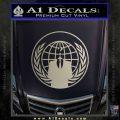Anonymous Globe Decal Sticker Metallic Silver Emblem 120x120
