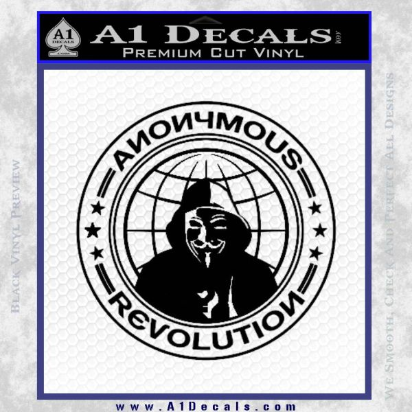 Anonymous Revolution Circle Guy Fawkes Decal Sticker Black Vinyl