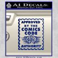 Approved By The Comics Code Decal Sticker Blue Vinyl 120x120