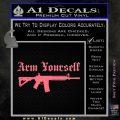 Arm Yourself 2nd Amendment Decal Sticker Pink Emblem 120x120