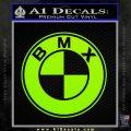 BMX Bike Decal Sticker BMW Parody Lime Green Vinyl 120x120