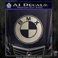 BMX Bike Decal Sticker BMW Parody Metallic Silver Emblem 120x120