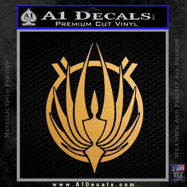 BSG Colonial Seal Decal Sticker Battle Star Galactica Gold Metallic Vinyl Black
