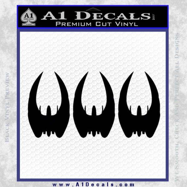 BSG Cylon Raider 3 Pack Decal Sticker Battle Star Galactica Black Vinyl