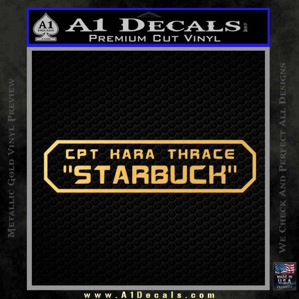 BSG Viper Nameplate Starbuck Decal Sticker Battle Star Galactica Gold Vinyl