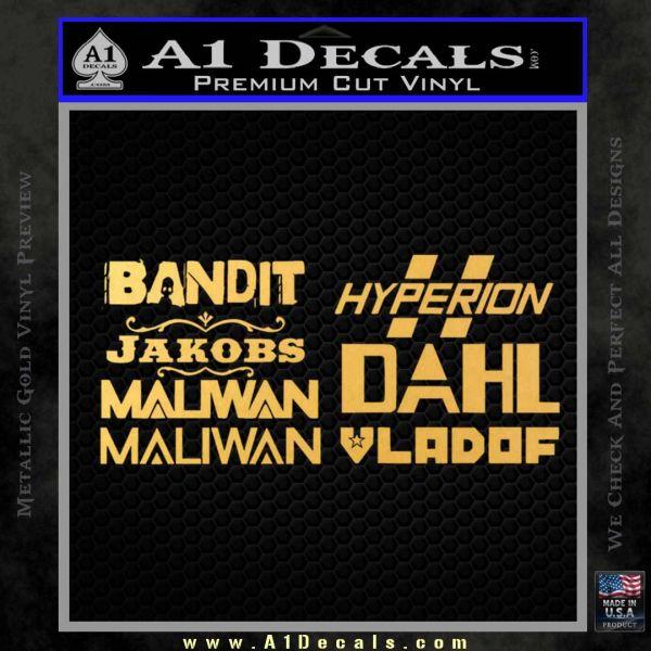 BorderlandsAll Gun Companies Decal Sticker Gold Vinyl