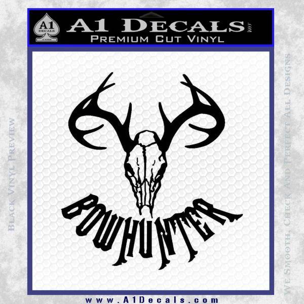 Bow Hunter Decal Sticker Skull Black Vinyl