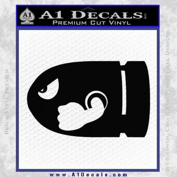 Bullet Bill Decal Sticker Super Mario Black Vinyl