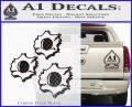 Bullet Holes Decal Sticker Carbon FIber Black Vinyl 120x97