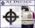 Celtic Sun Cross D1 Decal Sticker Carbon FIber Black Vinyl 120x97