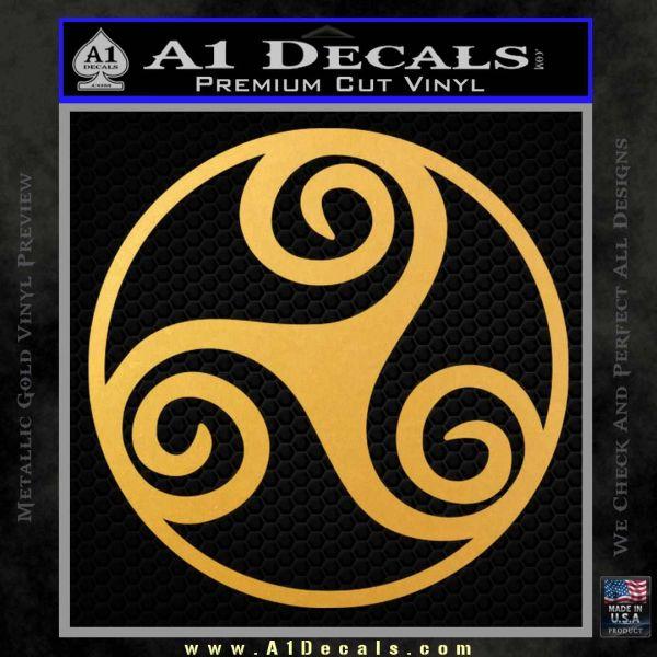 Celtic Swirl Triskel Decal Sticker Gold Vinyl
