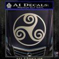 Celtic Swirl Triskel Decal Sticker Metallic Silver Emblem 120x120