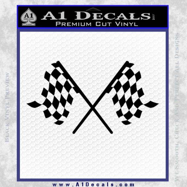 Checker Flag Decal Sticker Black Vinyl