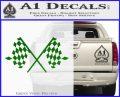 Checker Flag Decal Sticker Green Vinyl Logo 120x97