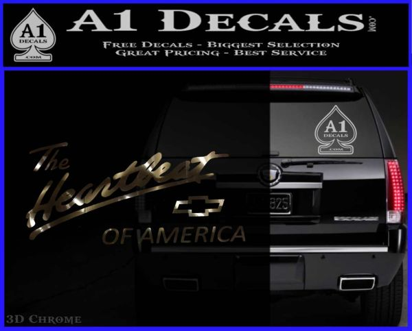 Chevy Heartbeat Of America Decal Sticker 3DChrome Vinyl