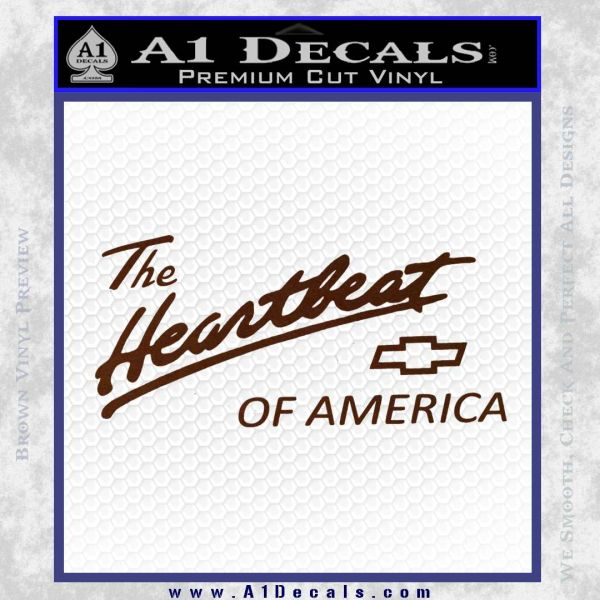 Chevy Heartbeat Of America Decal Sticker BROWN Vinyl