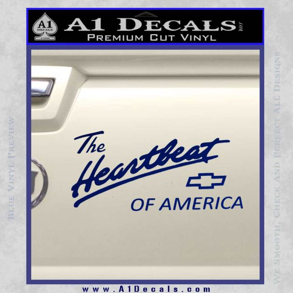 Chevy Heartbeat Of America Decal Sticker Blue Vinyl