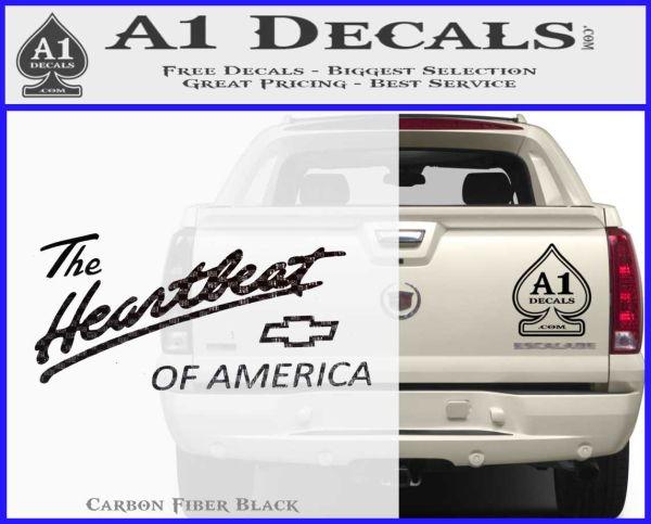 Chevy Heartbeat Of America Decal Sticker Carbon FIber Black Vinyl