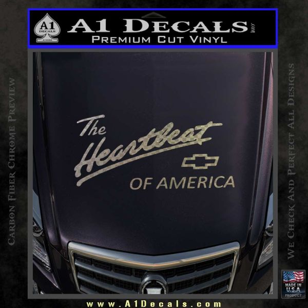 Chevy Heartbeat Of America Decal Sticker Carbon FIber Chrome Vinyl