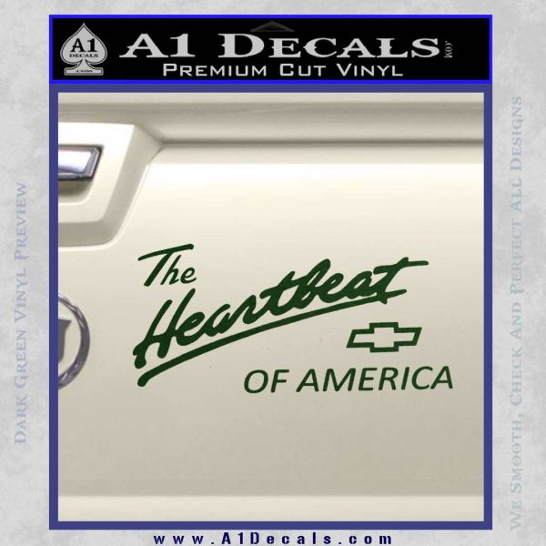 Chevy Heartbeat Of America Decal Sticker Dark Green Vinyl