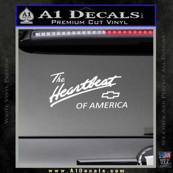 Chevy Heartbeat Of America Decal Sticker Gloss White Vinyl
