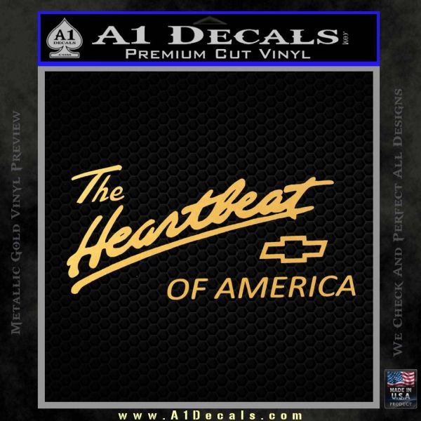 Chevy Heartbeat Of America Decal Sticker Gold Vinyl