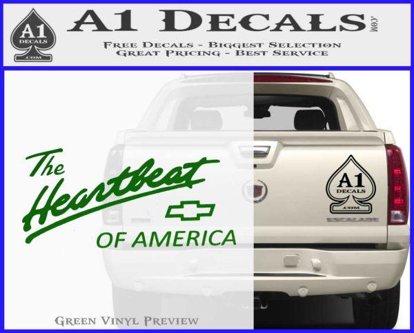 Chevy Heartbeat Of America Decal Sticker Green Vinyl Logo
