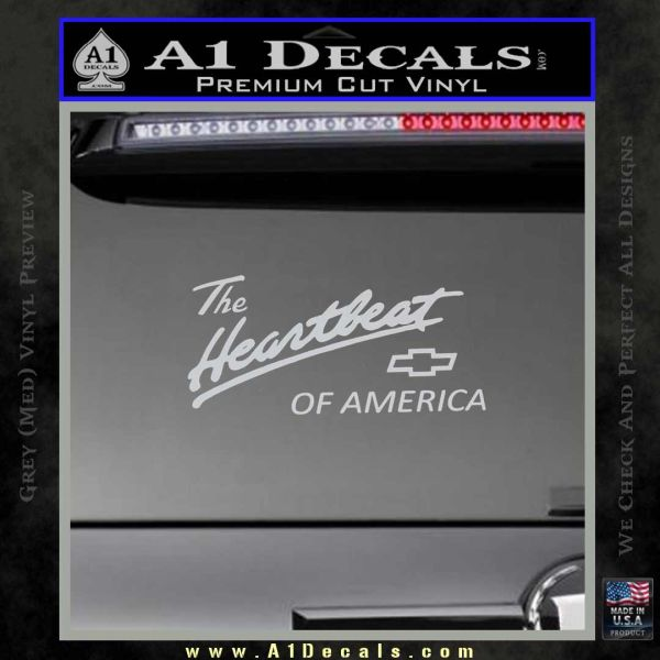 Chevy Heartbeat Of America Decal Sticker Grey Bumper