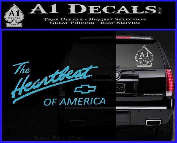 Chevy Heartbeat Of America Decal Sticker Light Blue Vinyl