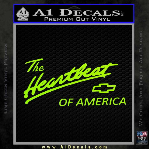 Chevy Heartbeat Of America Decal Sticker Lime Green Vinyl