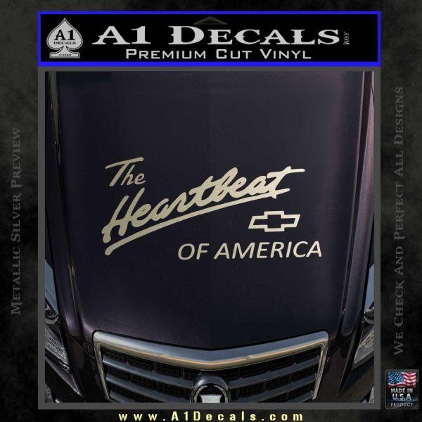 Chevy Heartbeat Of America Decal Sticker Metallic Silver Emblem