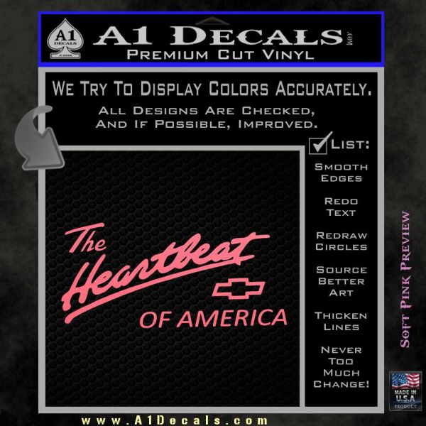 Chevy Heartbeat Of America Decal Sticker Pink Emblem