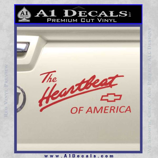 Chevy Heartbeat Of America Decal Sticker Red